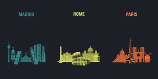 Madrid, Rome and Paris stock illustration