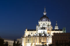 Madrid Royal Palace by night Stock Photography