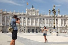 Madrid - Royal Palace tourists Stock Photography
