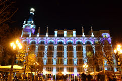 Madrid's architecture at night - Spain. Placa de Santa Ana in Madrid at night - Spain Stock Image