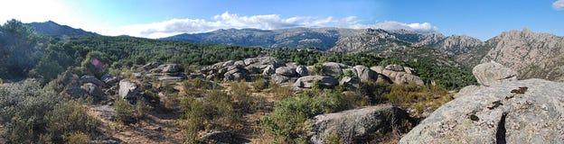 Madrid's Sierra. Panoramic landscape from the Madrid  Sierra Stock Image