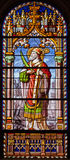 Madrid - Saint Eugene from windowpane of church San Jeronimo el Real Royalty Free Stock Photography