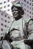 Madrid- - Sancho Panza-Statue von Cervantes-Denkmal auf Piazza Espana Stockfotografie