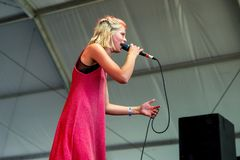 Dagny Norwegian pop musician performs in concert at Dcode Music Festival. MADRID - SEP 10: Dagny Norwegian pop musician performs in concert at Dcode Music Royalty Free Stock Photos