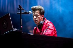 Mark Ronson famous musician, DJ, singer, songwriter and record producer perform in concert at Dcode Music Festival. MADRID - SEP 10: Mark Ronson famous musician stock photography