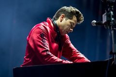 Mark Ronson famous musician, DJ, singer, songwriter and record producer perform in concert at Dcode Music Festival royalty free stock images