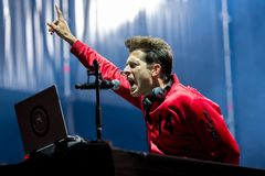 Mark Ronson famous musician, DJ, singer, songwriter and record producer perform in concert at Dcode Music Festival royalty free stock photo