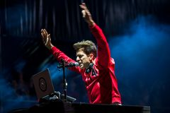 Mark Ronson famous musician, DJ, singer, songwriter and record producer perform in concert at Dcode Music Festival royalty free stock image