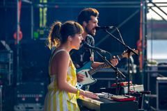 Oh Wonder alt-pop band perform in concert at Dcode Music Festival Stock Image