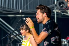 Oh Wonder alt-pop band perform in concert at Dcode Music Festival Royalty Free Stock Image