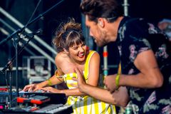Oh Wonder alt-pop band perform in concert at Dcode Music Festival Royalty Free Stock Photo