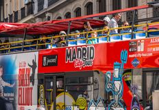 Madrid sightseeing bus for tourists royalty free stock images