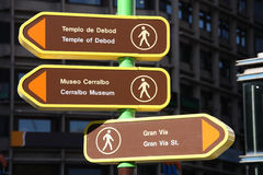 Madrid sign. Direction signs to popular landmarks in Madrid, Spain Royalty Free Stock Image