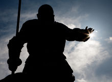 Free Madrid - Silhouette Of Don Quixote Statue From Cervantes Memorial Royalty Free Stock Photography - 31537237