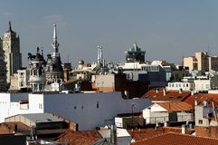 Madrid skyline. Scenic view of skyline of city of Madrid viewed from the Plaza de Santa Ana, Spain Stock Photos