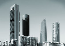 Madrid skyline. Madrid, Spain - famous skyscraper skyline of Cuatro Torres Business Area (CTBA). Modern architecture Royalty Free Stock Photography