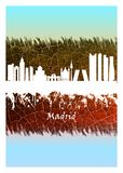 Madrid skyline Blue and White royalty free illustration