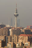 Madrid Skyline with communication tower stock photo