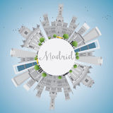 Madrid Skyline with Gray Buildings, Blue Sky and Copy Space. Business Travel and Tourism Concept with Historic Buildings. Image for Presentation, Banner royalty free illustration