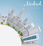 Madrid Skyline with Gray Buildings and Copy Space. Madrid Skyline with Gray Buildings, Blue Sky and Copy Space. Business Travel and Tourism Concept with stock illustration