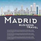 Madrid Skyline with grey buildings, blue sky and copy space Stock Photos