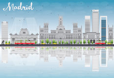 Madrid Skyline with grey buildings, blue sky and reflections. Stock Images