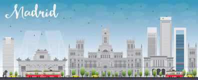 Madrid Skyline with grey buildings and blue sky Stock Image