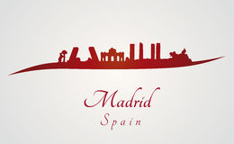 Madrid skyline in red Stock Images
