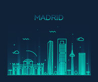 Madrid skyline trendy vector illustration linear Stock Photos