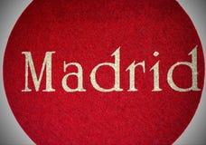 Madrid som är skriftlig av en spansk stad med, blänker stilsorten Arkivfoto