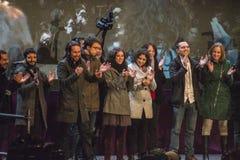 Madrid, Spagna - 20 dicembre 2015 - candidati del partito di Podemos che parlano alla folla Fotografia Stock