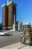 MADRID, SPAGNA - 21 GENNAIO 2018: Il monumento a Columbus ed a Columbus si eleva a Plaza de Colon in città di Madrid Fotografia Stock
