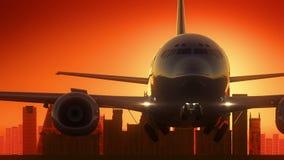 Madrid Spain Airplane Take Off Skyline Golden Background
