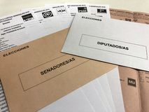 Ballot and envelopes to vote in spanish presidential elections stock photography
