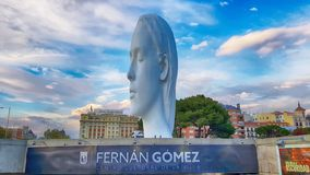 View Julia statute by Jaume Plensa. MADRID, SPAIN - APRIL 2: View Julia statute by Jaume Plensa at sunset HDR effect on April 2, 2019 in Madrid, Spain royalty free stock photo