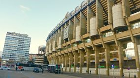 View Santiago Bernabeu football stadium at sunset royalty free stock photos
