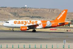 Airbus A320 G-EZBI of Easyjet airline wearing special William Shakespeare livery taxiing at Madrid Barajas Adolfo Suarez airport. royalty free stock photography