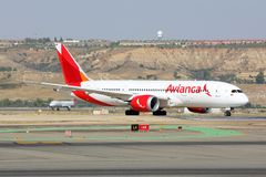 Boeing 787-8 Dreamliner of Avianca airlines taxiing at Madrid Barajas Adolfo Suarez airport. Madrid, Spain - August 12 2015: Boeing 787-8 Dreamliner of Avianca stock photos