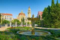 Retiro Park and Church of San Manuel y San Benito in Madrid royalty free stock images