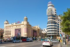 The Gran Via and Plaza Callao in Madrid on a summer day. MADRID,SPAIN - AUGUST 6, 2017 : Gran Via and Plaza Callao in Madrid, the most important shopping and Royalty Free Stock Photo