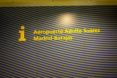 MADRID, SPAIN - AUGUST 18 2017: Informative sign of Madrid Barajas airport, main international airport of the capital of Royalty Free Stock Photo