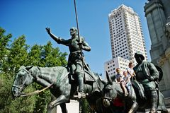 Madrid, Spain - 24 August, 2017: Monument to Miguel de Cervantes. Madrid Stock Photos