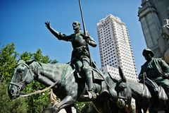 Madrid, Spain - 24 August, 2017: Monument to Miguel de Cervantes. Madrid Royalty Free Stock Photography