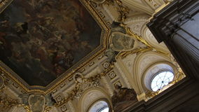Madrid. Spain. Beautiful ceiling of the Royal Palace stock footage