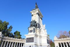 Madrid, Spain. Madrid, capital city of Spain. Monument to Alfonso XII in Retiro Park Stock Image