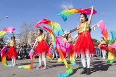 Madrid, Spain, Chinese New Year parade in the neighborhood of Us royalty free stock photo