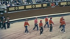 Las Ventas parade. Madrid, Spain - Circa 1978: parade of traditional dress bullfighters and dancers in the famous historical Las Ventas arena. One of the biggest stock footage