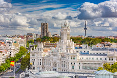 Madrid Spain. Madrid, Spain cityscape with Communication Palace and Torrespana Tower Stock Photo