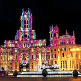 Cybele Palace at the Plaza de Cibeles with light trails of the traffic at night, Madrid, Spain. Madrid, Spain. Cybele Palace at the Plaza de Cibeles with light Stock Images