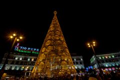 Madrid, Spain; December 2015: Christmas tree with lights glowing and Christmas decoration in the Puerta del Sol, of the city. Madrid , Spain stock images
